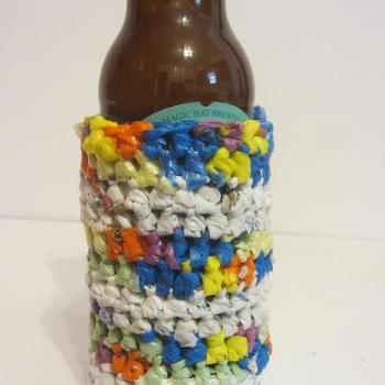 Can or Bottle Coozie Made From Plastic Grocery Bags